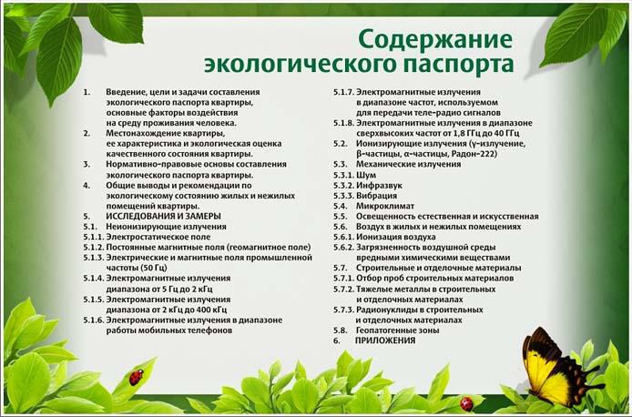 экологический паспорт содержание